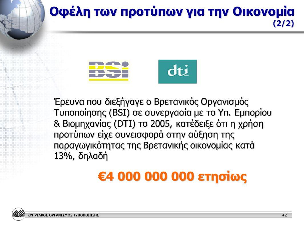 ΚΥΠΡΙΑΚΟΣ ΟΡΓΑΝΙΣΜΟΣ ΤΥΠΟΠΟΙΗΣΗΣ Οφέλη των προτύπων για την Οικονομία (2/2) Έρευνα που διεξήγαγε ο Βρετανικός Οργανισμός Τυποποίησης (BSI) σε συνεργασία με το Υπ.