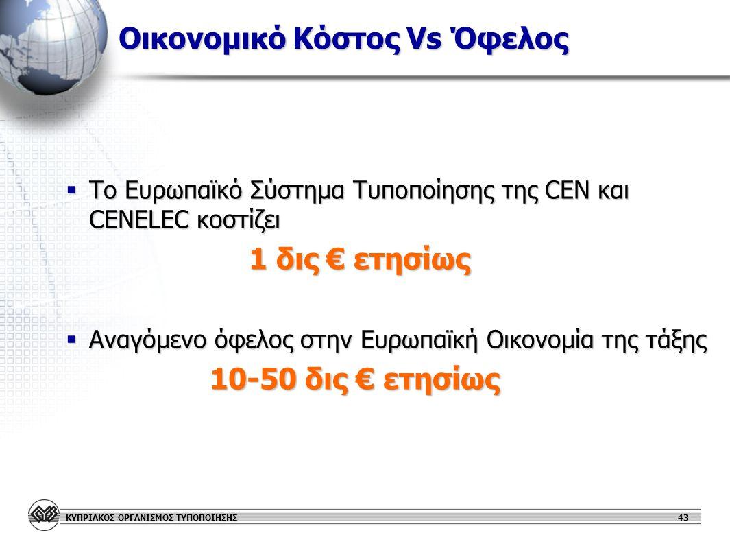 ΚΥΠΡΙΑΚΟΣ ΟΡΓΑΝΙΣΜΟΣ ΤΥΠΟΠΟΙΗΣΗΣ Οικονομικό Κόστος Vs Όφελος  Το Ευρωπαϊκό Σύστημα Τυποποίησης της CEN και CENELEC κοστίζει 1 δις € ετησίως 1 δις € ετησίως  Αναγόμενο όφελος στην Ευρωπαϊκή Οικονομία της τάξης 10-50 δις € ετησίως 10-50 δις € ετησίως 43