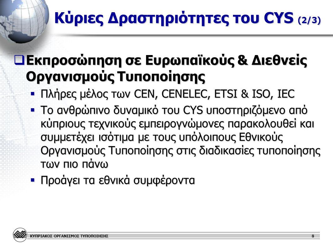 ΚΥΠΡΙΑΚΟΣ ΟΡΓΑΝΙΣΜΟΣ ΤΥΠΟΠΟΙΗΣΗΣ 9 Κύριες Δραστηριότητες του CYS (3/3)  Ανάπτυξη Προτύπων  Ετοιμάζει, αναθεωρεί ή αποσύρει κυπριακά πρότυπα  Δημιουργεί και διαχειρίζεται επιτροπές με σκοπό την καλύτερη διαχείριση του εθνικού συστήματος Τυποποίησης (π.χ.