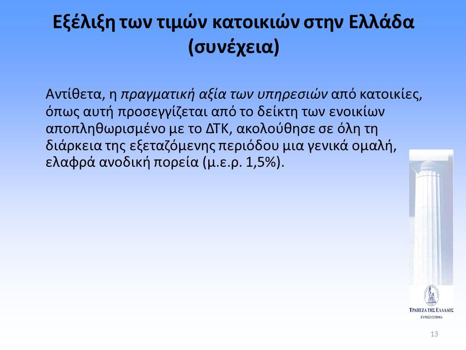 13 Εξέλιξη των τιμών κατοικιών στην Ελλάδα (συνέχεια) Αντίθετα, η πραγματική αξία των υπηρεσιών από κατοικίες, όπως αυτή προσεγγίζεται από το δείκτη τ