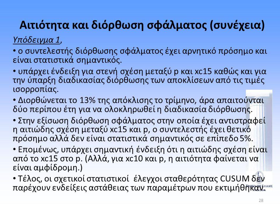 28 Αιτιότητα και διόρθωση σφάλματος (συνέχεια) Υπόδειγμα 1, • ο συντελεστής διόρθωσης σφάλματος έχει αρνητικό πρόσημο και είναι στατιστικά σημαντικός.