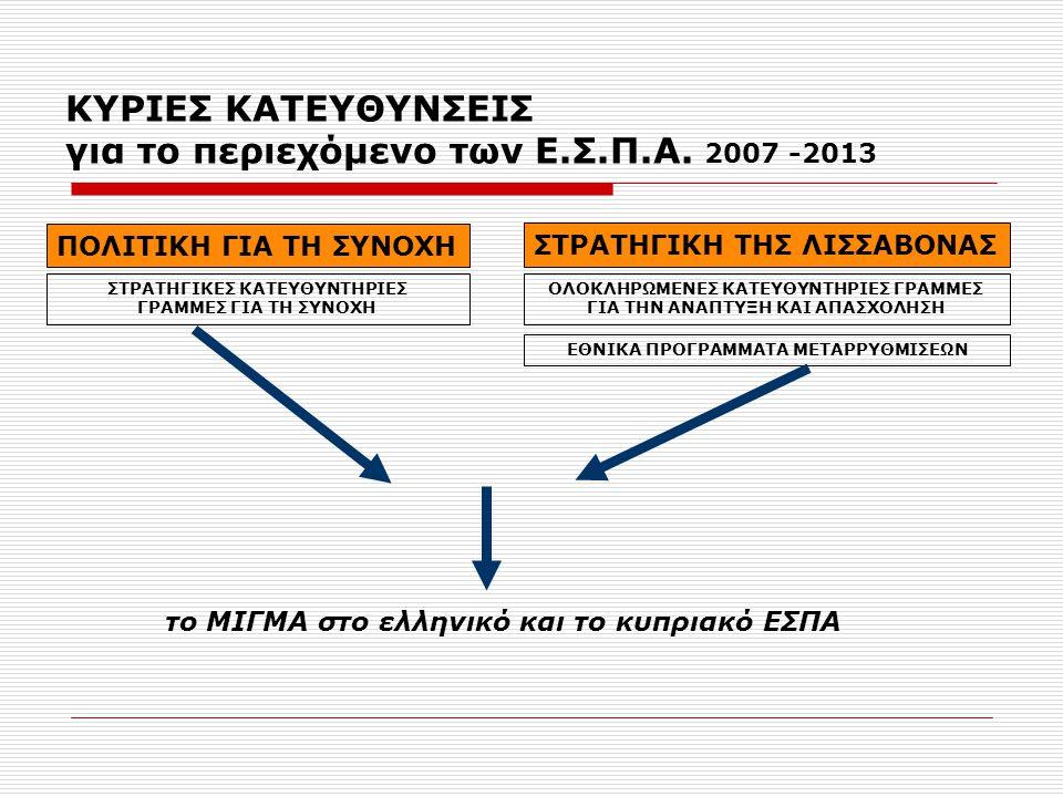 Η ΚΥΠΡΟΣ στην περίοδο 2007-2013 Τα κύρια OIKONOMIKA Μεγέθη  ΕΣΠΑ - ΑΓΡ.