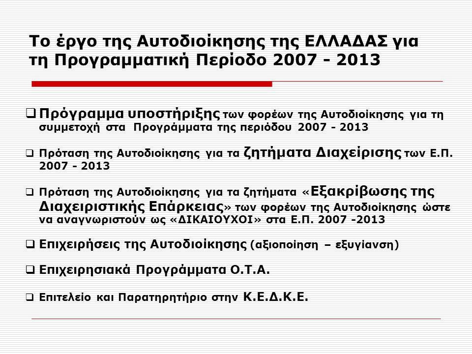Το έργο της Αυτοδιοίκησης της ΕΛΛΑΔΑΣ για τη Προγραμματική Περίοδο 2007 - 2013  Πρόγραμμα υποστήριξης των φορέων της Αυτοδιοίκησης για τη συμμετοχή στα Προγράμματα της περιόδου 2007 - 2013  Πρόταση της Αυτοδιοίκησης για τα ζητήματα Διαχείρισης των Ε.Π.