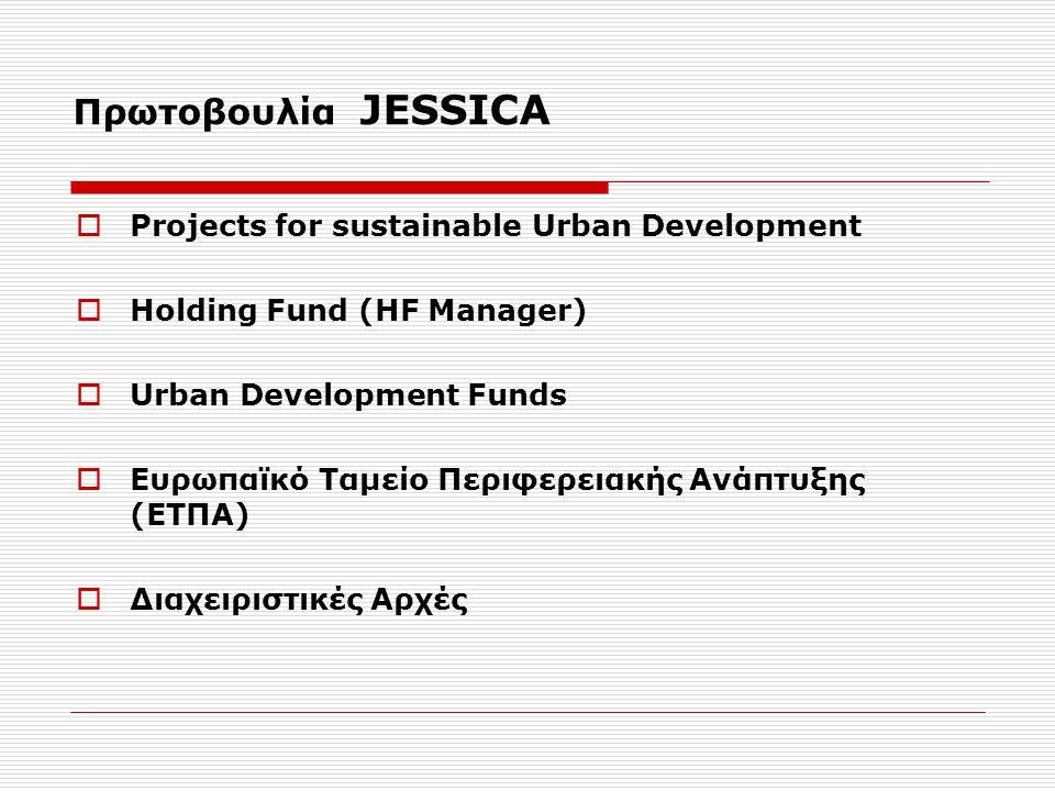 Πρωτοβουλία JESSICA  Projects for sustainable Urban Development  Holding Fund (HF Manager)  Urban Development Funds  Eυρωπαϊκό Ταμείο Περιφερειακής Ανάπτυξης (ΕΤΠΑ)  Διαχειριστικές Αρχές
