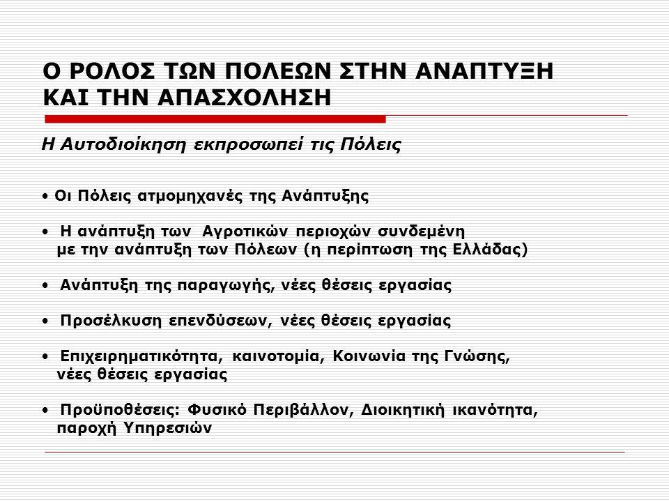 Ο ΡΟΛΟΣ ΤΩΝ ΠΟΛΕΩΝ ΣΤΗΝ ΑΝΑΠΤΥΞΗ ΚΑΙ ΤΗΝ ΑΠΑΣΧΟΛΗΣΗ • Οι Πόλεις ατμομηχανές της Ανάπτυξης • Η ανάπτυξη των Αγροτικών περιοχών συνδεμένη με την ανάπτυξη των Πόλεων (η περίπτωση της Ελλάδας) • Ανάπτυξη της παραγωγής, νέες θέσεις εργασίας • Προσέλκυση επενδύσεων, νέες θέσεις εργασίας • Επιχειρηματικότητα, καινοτομία, Κοινωνία της Γνώσης, νέες θέσεις εργασίας • Προϋποθέσεις: Φυσικό Περιβάλλον, Διοικητική ικανότητα, παροχή Υπηρεσιών Η Αυτοδιοίκηση εκπροσωπεί τις Πόλεις