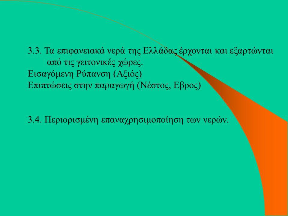 3.3. Τα επιφανειακά νερά της Ελλάδας έρχονται και εξαρτώνται από τις γειτονικές χώρες.
