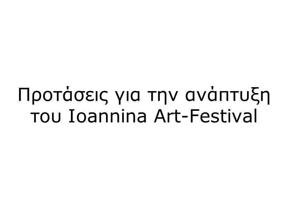 Λίστα θεμάτων •Ανάγκη για διευρυμένη συμμετοχή καλλιτεχνών •Προτεινόμενη ημερομηνία και διάρκεια του φεστιβάλ •Προτεινόμενο πρόγραμμα και χώροι • Ανάγκες σε οργανωτικό και καλλιτεχνικό προσωπικό