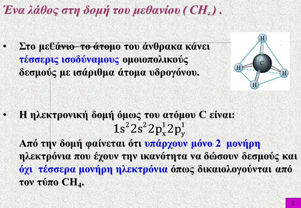 2 •Στο μεθάνιο το άτομο του άνθρακα κάνει τέσσερις ισοδύναμους ομοιοπολικούς δεσμούς με ισάριθμα άτομα υδρογόνου. Ένα λάθος στη δομή του μεθανίου ( CΗ