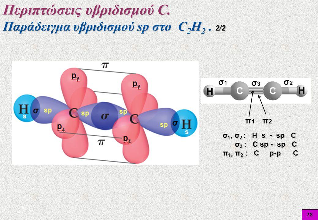 28 Περιπτώσεις υβριδισμού C. Παράδειγμα υβριδισμού sp στο C 2 H 2. 2/2 σ1σ1 σ3σ3 σ2σ2 π1π1 π2π2 σ 1, σ 2 : Η s - sp C σ 3 : C sp - sp C π 1, π 2 : C p