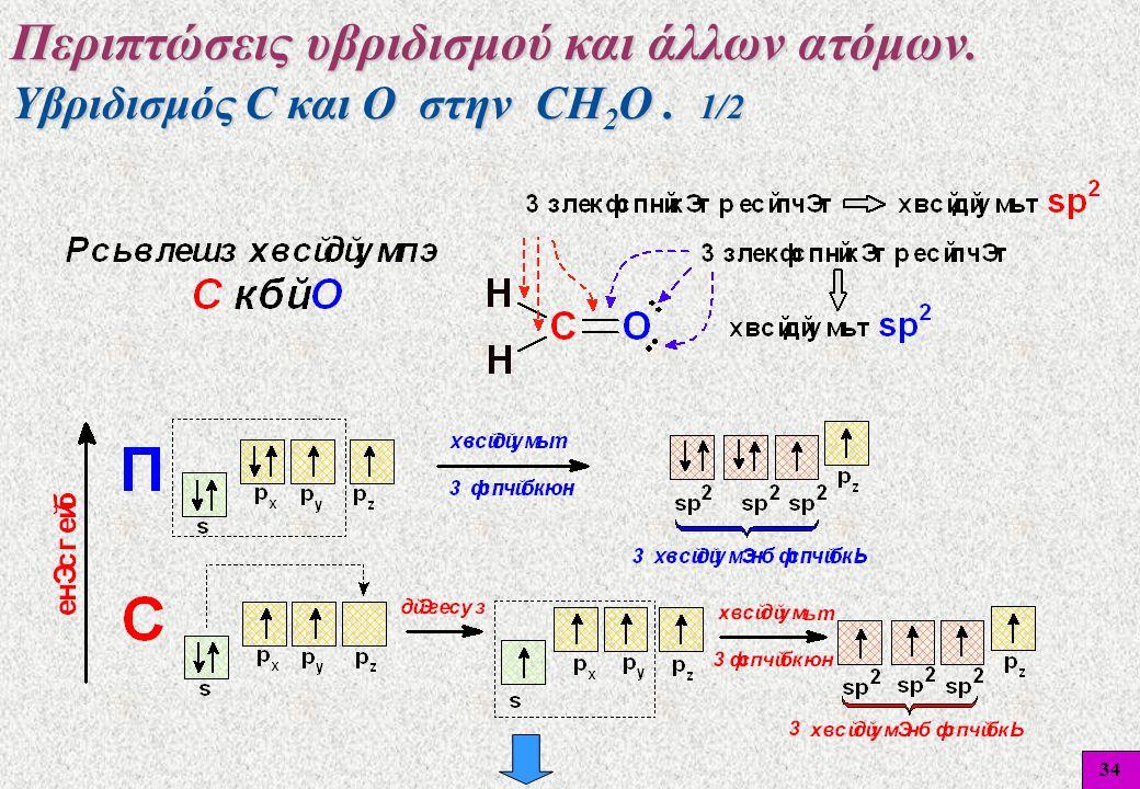 34 Υβριδισμός C και O στην CH 2 O. 1/2 Περιπτώσεις υβριδισμού και άλλων ατόμων.