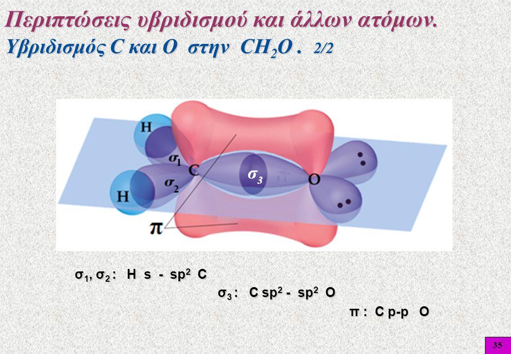 35 σ 1, σ 2 : Η s - sp 2 C σ 3 : C sp 2 - sp 2 O π : C p-p O π : C p-p O Υβριδισμός C και O στην CH 2 O. 2/2 Περιπτώσεις υβριδισμού και άλλων ατόμων.