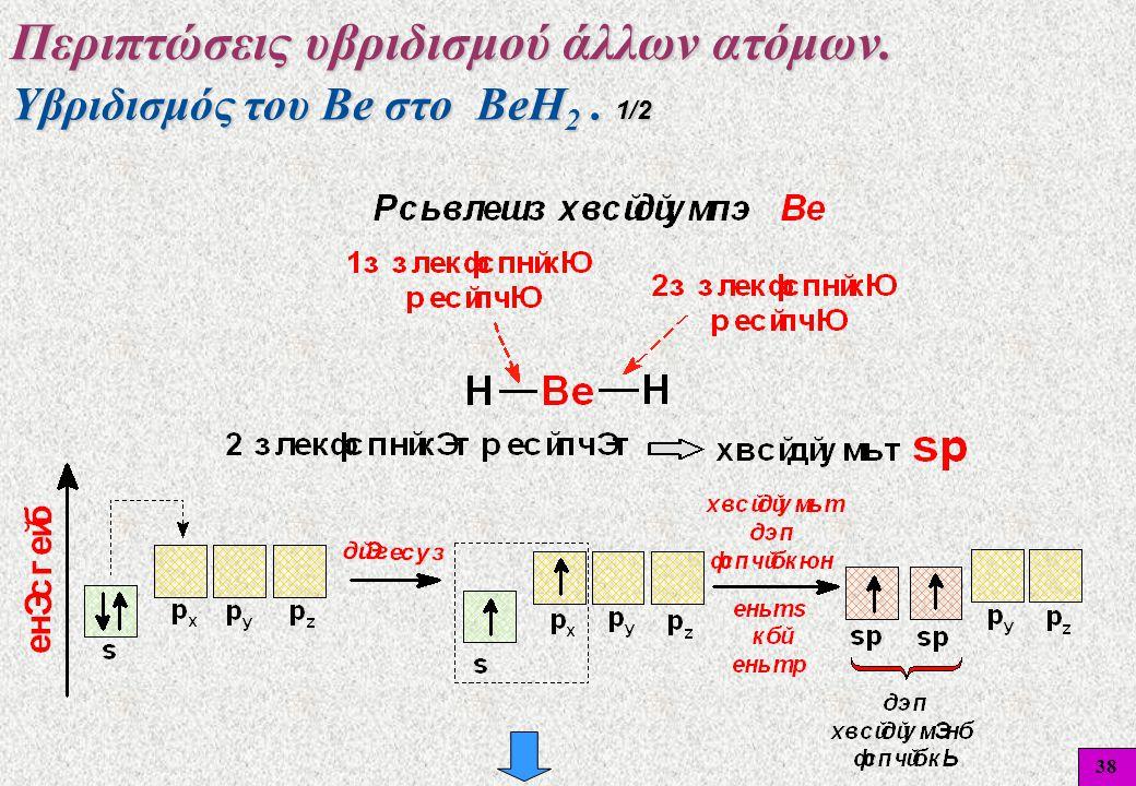38 Υβριδισμός του Βe στο BeH 2. 1/2 Περιπτώσεις υβριδισμού άλλων ατόμων. 38