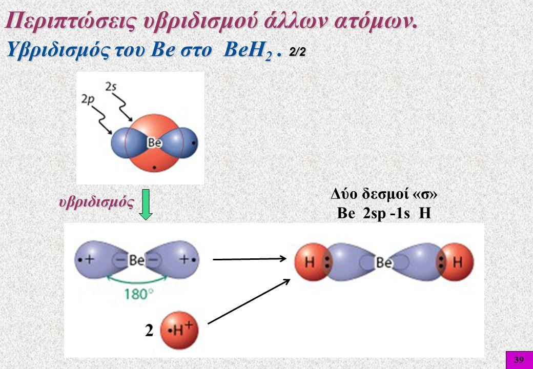 39 Υβριδισμός του Βe στο BeH 2. 2/2 Περιπτώσεις υβριδισμού άλλων ατόμων. υβριδισμός Δύο δεσμοί «σ» Be 2sp -1s H