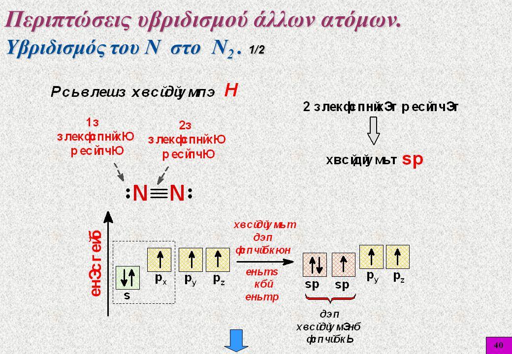 40 Υβριδισμός του Ν στο Ν 2. 1/2 Περιπτώσεις υβριδισμού άλλων ατόμων.