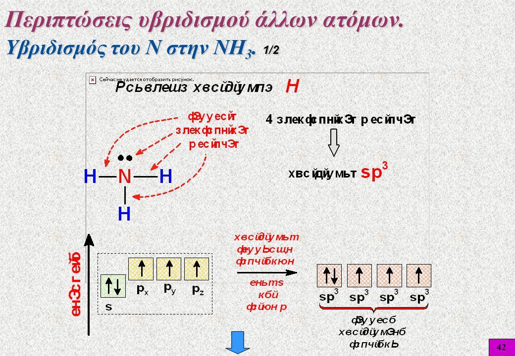 42 Υβριδισμός του Ν στην ΝΗ 3. 1/2 Περιπτώσεις υβριδισμού άλλων ατόμων.