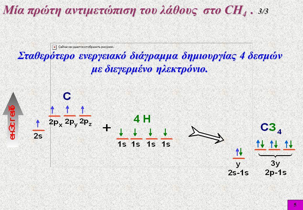 5 Μία πρώτη αντιμετώπιση του λάθους στο CΗ 4. 3/3 Σταθερότερο ενεργειακό διάγραμμα δημιουργίας 4 δεσμών με διεγερμένο ηλεκτρόνιο.