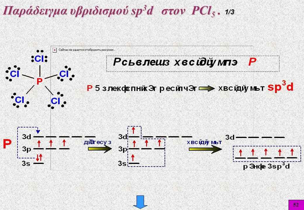 52 Παράδειγμα υβριδισμού sp 3 d στον PCl 5. 1/3