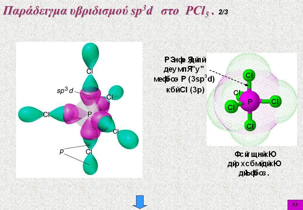 53 Παράδειγμα υβριδισμού sp 3 d στο PCl 5. 2/3