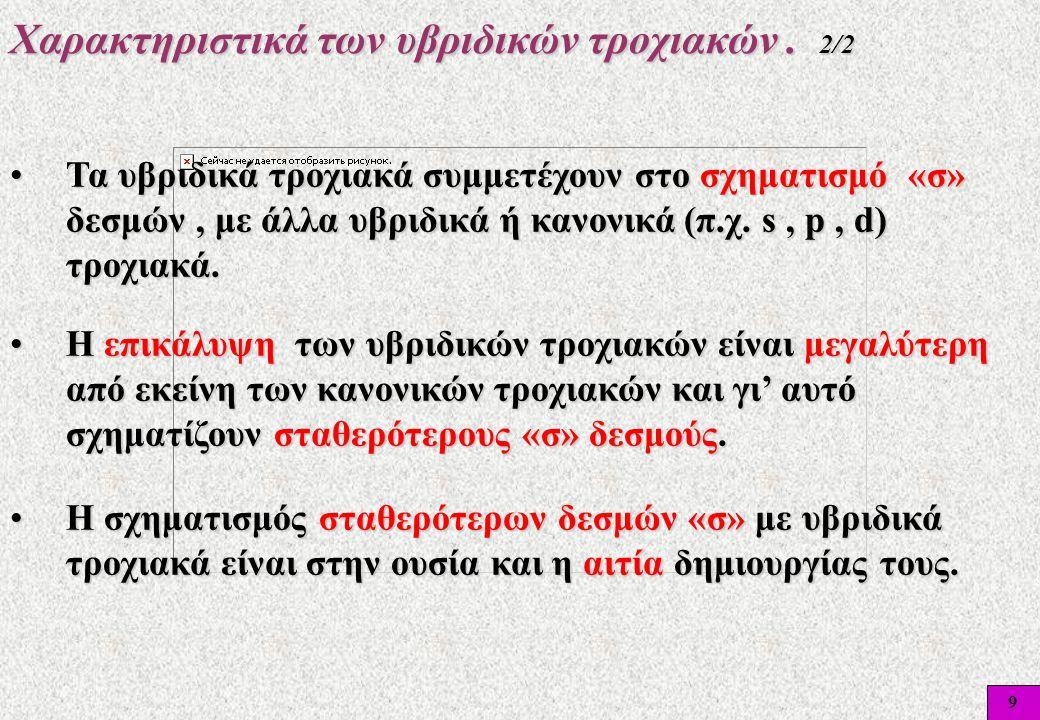 9 Χαρακτηριστικά των υβριδικών τροχιακών. 2/2 •Τα υβριδικά τροχιακά συμμετέχουν στο σχηματισμό «σ» δεσμών, με άλλα υβριδικά ή κανονικά (π.χ. s, p, d)