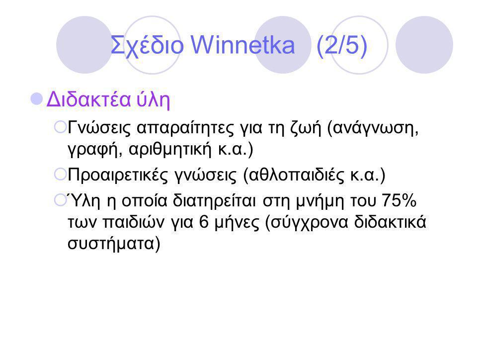 Σχέδιο Winnetka (2/5)  Διδακτέα ύλη  Γνώσεις απαραίτητες για τη ζωή (ανάγνωση, γραφή, αριθμητική κ.α.)  Προαιρετικές γνώσεις (αθλοπαιδιές κ.α.)  Ύλη η οποία διατηρείται στη μνήμη του 75% των παιδιών για 6 μήνες (σύγχρονα διδακτικά συστήματα)