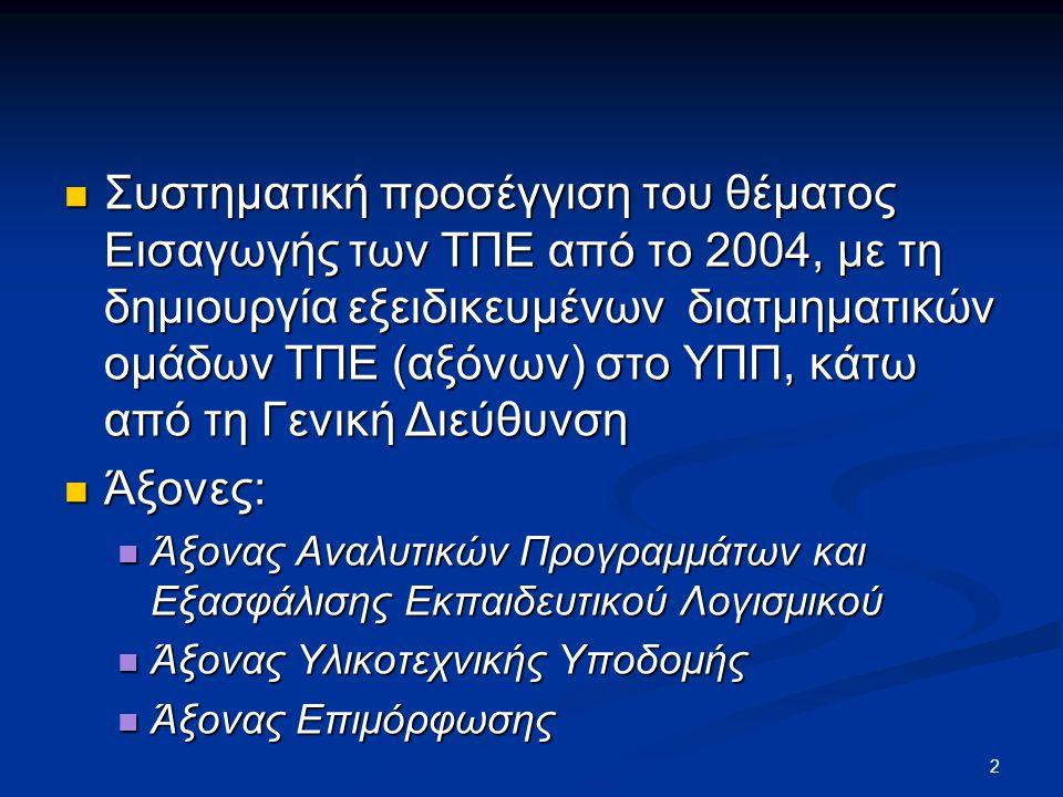  Συστηματική προσέγγιση του θέματος Εισαγωγής των ΤΠΕ από το 2004, με τη δημιουργία εξειδικευμένων διατμηματικών ομάδων ΤΠΕ (αξόνων) στο ΥΠΠ, κάτω από τη Γενική Διεύθυνση  Άξονες:  Άξονας Αναλυτικών Προγραμμάτων και Εξασφάλισης Εκπαιδευτικού Λογισμικού  Άξονας Υλικοτεχνικής Υποδομής  Άξονας Επιμόρφωσης 2