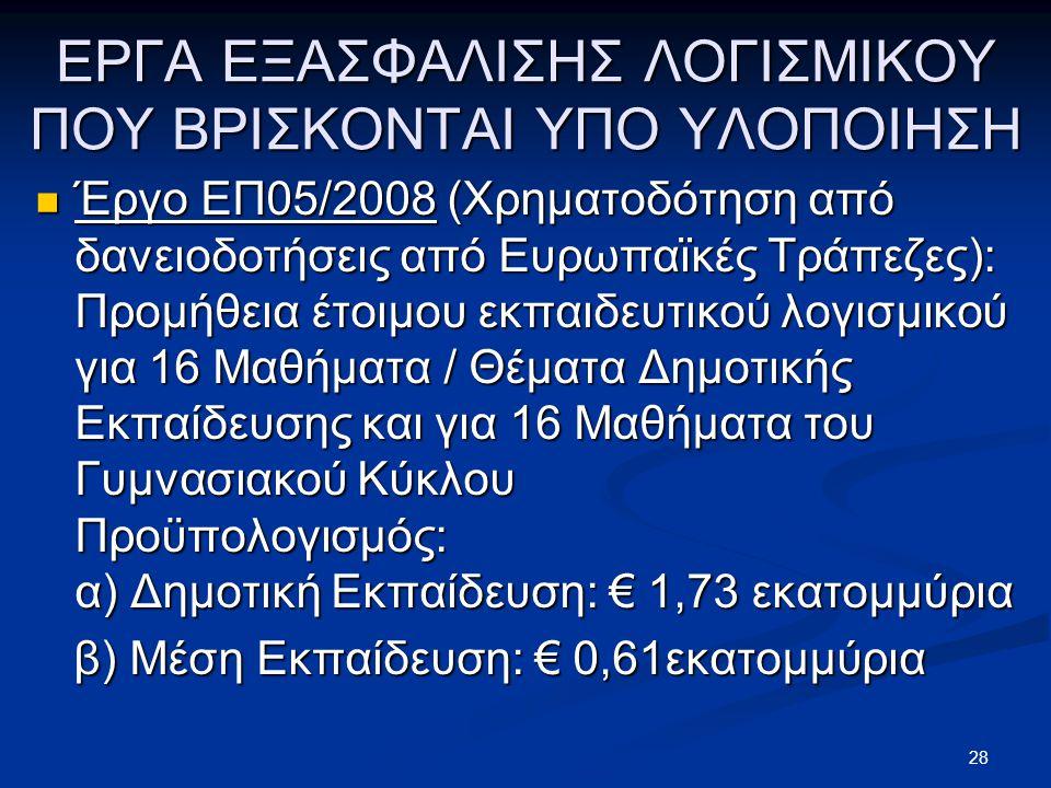 ΕΡΓΑ ΕΞΑΣΦΑΛΙΣΗΣ ΛΟΓΙΣΜΙΚΟΥ ΠΟΥ ΒΡΙΣΚΟΝΤΑΙ ΥΠΟ ΥΛΟΠΟΙΗΣΗ  Έργο ΕΠ05/2008 (Χρηματοδότηση από δανειοδοτήσεις από Ευρωπαϊκές Τράπεζες): Προμήθεια έτοιμου εκπαιδευτικού λογισμικού για 16 Μαθήματα / Θέματα Δημοτικής Εκπαίδευσης και για 16 Μαθήματα του Γυμνασιακού Κύκλου Προϋπολογισμός: α) Δημοτική Εκπαίδευση: € 1,73 εκατομμύρια β) Μέση Εκπαίδευση: € 0,61εκατομμύρια β) Μέση Εκπαίδευση: € 0,61εκατομμύρια 28