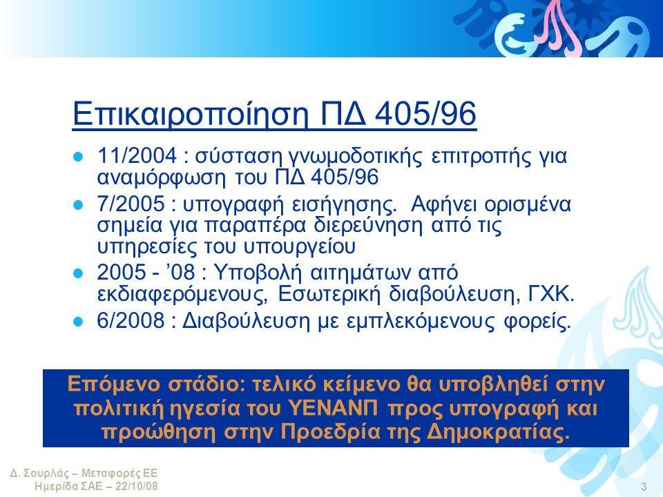 Δ. Σουρλάς – Μεταφορές ΕΕ Ημερίδα ΣΑΕ – 22/10/08 3 Επικαιροποίηση ΠΔ 405/96  11/2004 : σύσταση γνωμοδοτικής επιτροπής για αναμόρφωση του ΠΔ 405/96 
