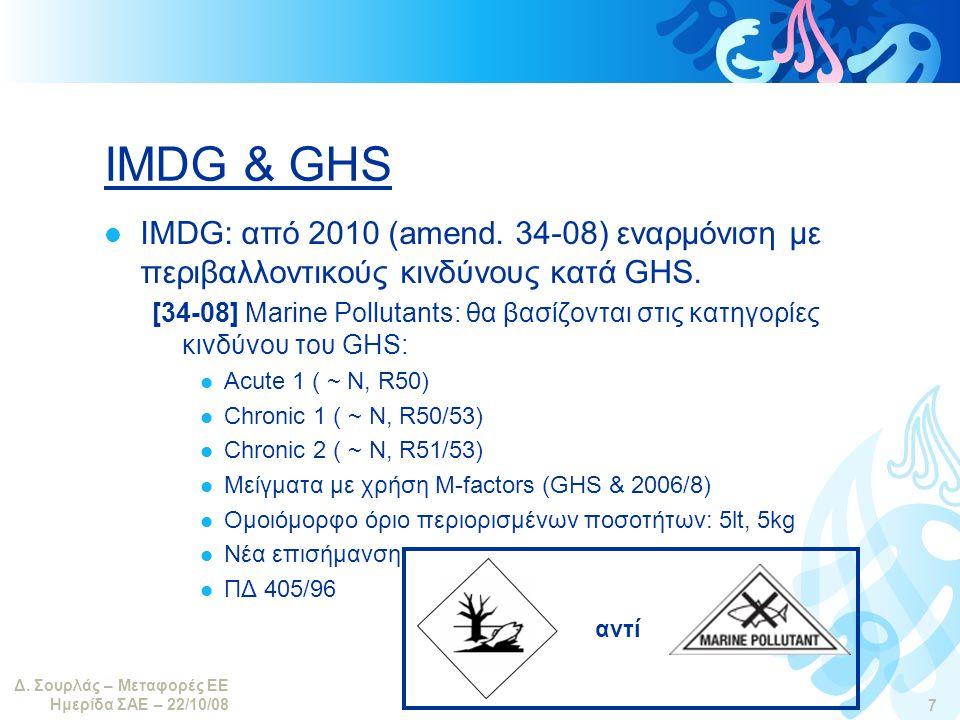 Δ.Σουρλάς – Μεταφορές ΕΕ Ημερίδα ΣΑΕ – 22/10/08 7 IMDG & GHS  IMDG: από 2010 (amend.