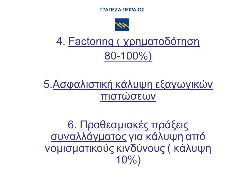 4. Factoring ( χρηματοδότηση 80-100%) 5.Ασφαλιστική κάλυψη εξαγωγικών πιστώσεων 6. Προθεσμιακές πράξεις συναλλάγματος για κάλυψη από νομισματικούς κιν