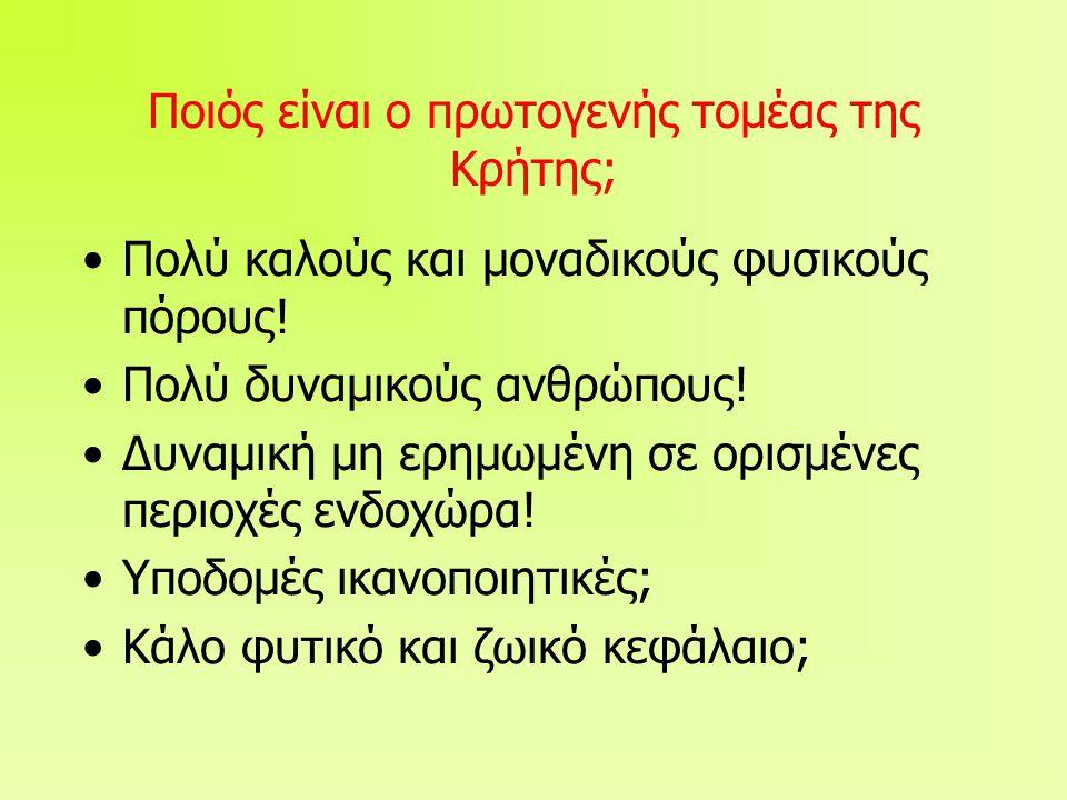 Ποιός είναι ο πρωτογενής τομέας της Κρήτης; •Πολύ καλούς και μοναδικούς φυσικούς πόρους.