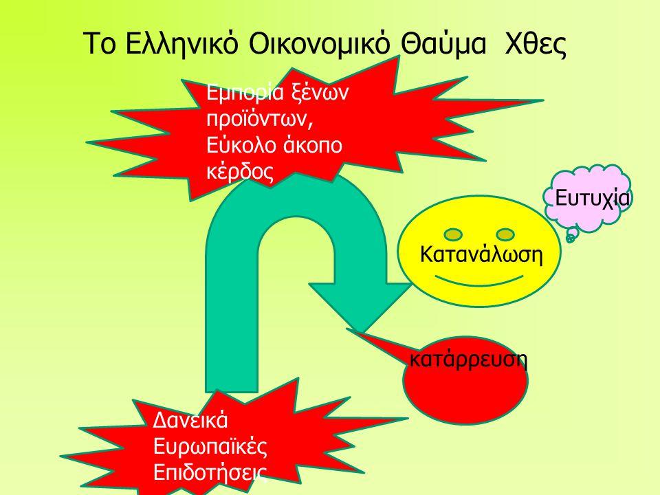 Το Ελληνικό Οικονομικό Θαύμα Χθες Δανεικά Ευρωπαϊκές Επιδοτήσεις Κατανάλωση Εμπορία ξένων προϊόντων, Εύκολο άκοπο κέρδος Ευτυχία κατάρρευση