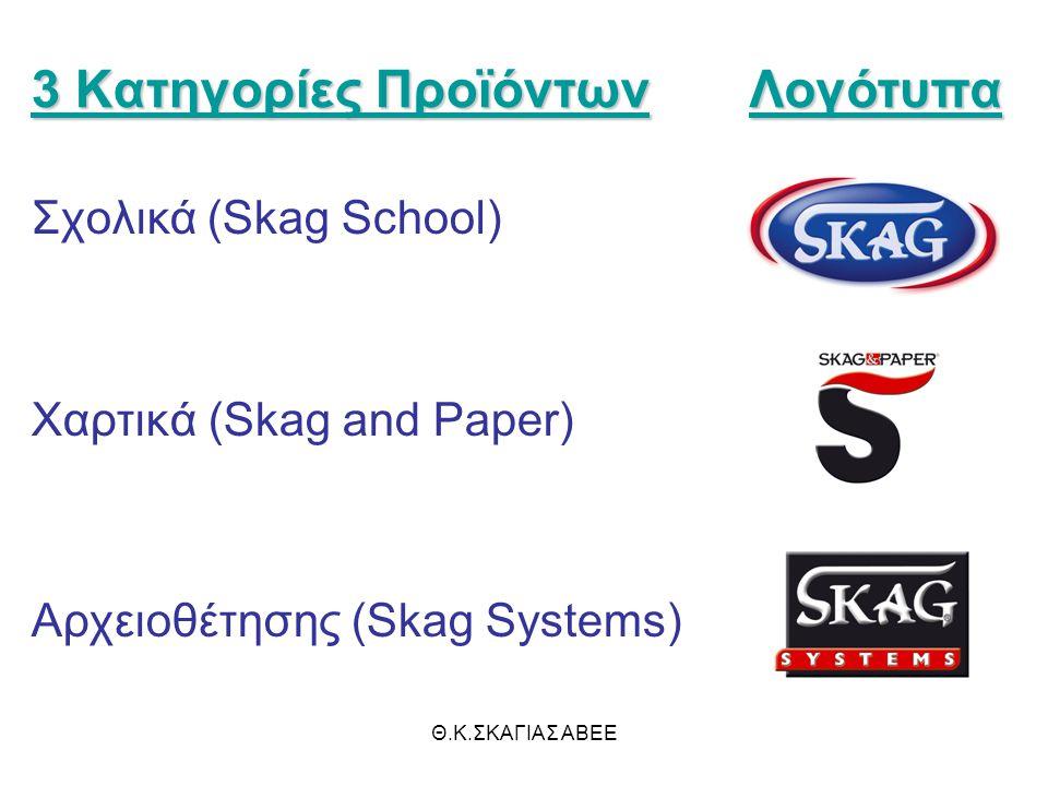 Θ.Κ.ΣΚΑΓΙΑΣ ΑΒΕΕ 3 Κατηγορίες Προϊόντων Σχολικά (Skag School) Χαρτικά (Skag and Paper) Αρχειοθέτησης (Skag Systems) Λογότυπα