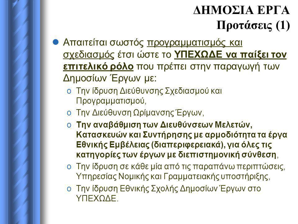 ΔΗΜΟΣΙΑ ΕΡΓΑ Προτάσεις (1)  Απαιτείται σωστός προγραμματισμός και σχεδιασμός έτσι ώστε το ΥΠΕΧΩΔΕ να παίξει τον επιτελικό ρόλο που πρέπει στην παραγω