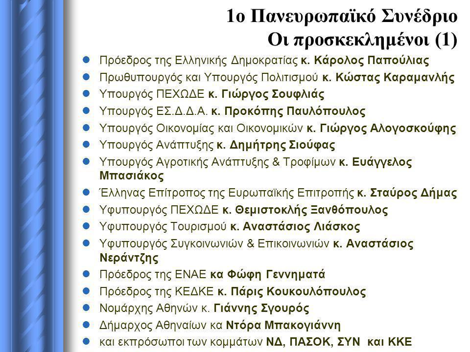 1ο Πανευρωπαϊκό Συνέδριο Οι προσκεκλημένοι (1)  Πρόεδρος της Ελληνικής Δημοκρατίας κ. Κάρολος Παπούλιας  Πρωθυπουργός και Υπουργός Πολιτισμού κ. Κώσ