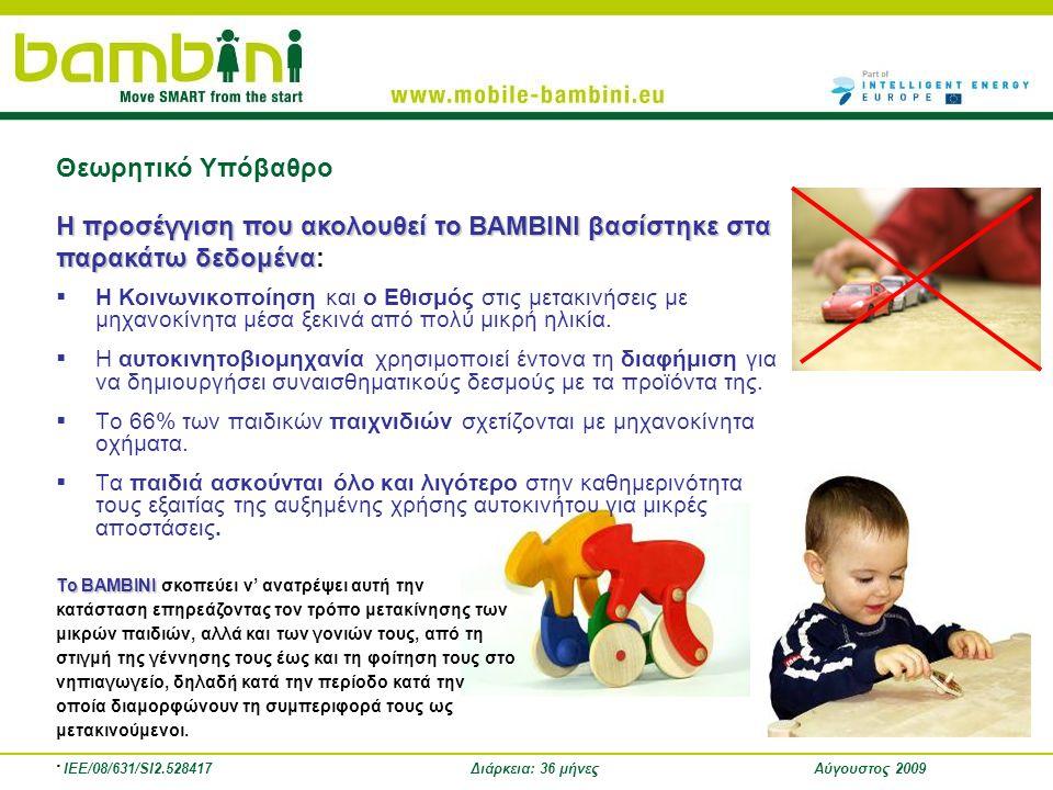 IEE/08/631/SI2.528417Διάρκεια: 36 μήνεςΑύγουστος 2009  Η Κοινωνικοποίηση και ο Εθισμός στις μετακινήσεις με μηχανοκίνητα μέσα ξεκινά από πολύ μικρή η