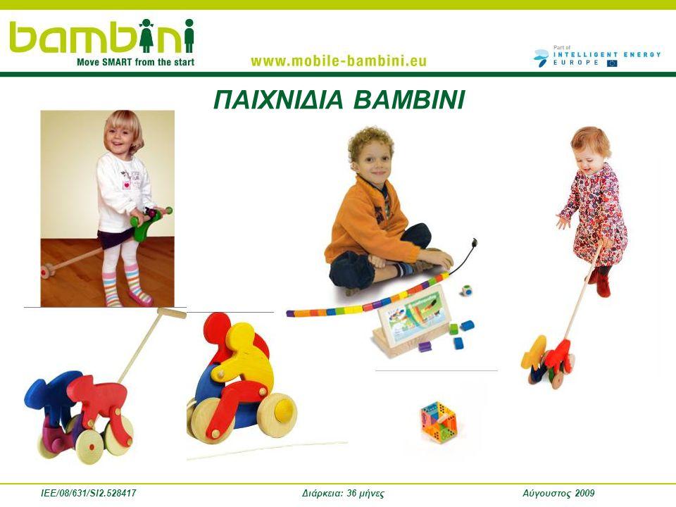 IEE/08/631/SI2.528417Διάρκεια: 36 μήνεςΑύγουστος 2009 Ενδιάμεσα Αποτελέσματα • 3 παιχνίδια δημιουργήθηκαν και διανεμήθηκαν για δοκιμή σε παιδικούς σταθμούς στις χώρες των εταίρων του έργου • Οι ιδέες του BAMBINI ενσωματώθηκαν στη θεματολογία 10 τμημάτων προγεννητικής αγωγής • Εκπαιδευτικά σεμινάρια του BAMBINI πραγματοποιήθηκαν σε 30 βρεφικούς σταθμούς (συμμετείχαν 255 παιδιά και γονείς) • Εκπαιδευτικά σεμινάρια του ΒΑΜΒΙΝΙ πραγματοποιήθηκαν, με τη βοήθεια των παιδαγωγών, σε 57 τμήματα παιδικών σταθμών.
