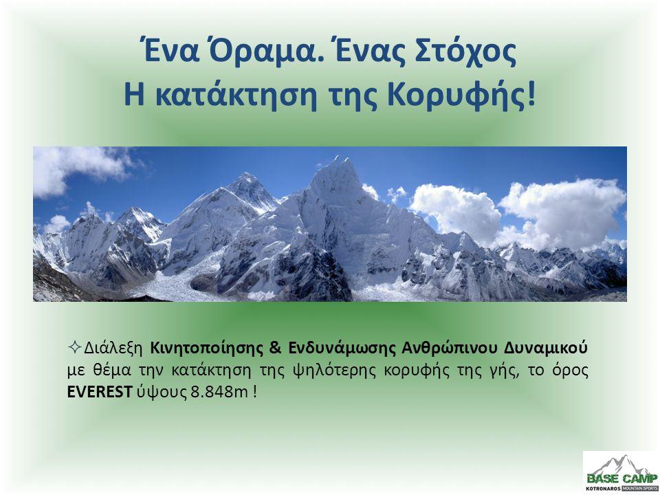 Ομιλητής: Κοτρωνάρος Παναγιώτης Hellas Everest 2004 Expedition Leader  Ο αρχηγός της πρώτης επιτυχημένης Ελληνικής ορειβατικής αποστολής στο EVEREST, θα παρουσιάσει στα στελέχη της εταιρίας σας το χρονικό της κατάκτησης της ψηλότερης κορυφής της γής !