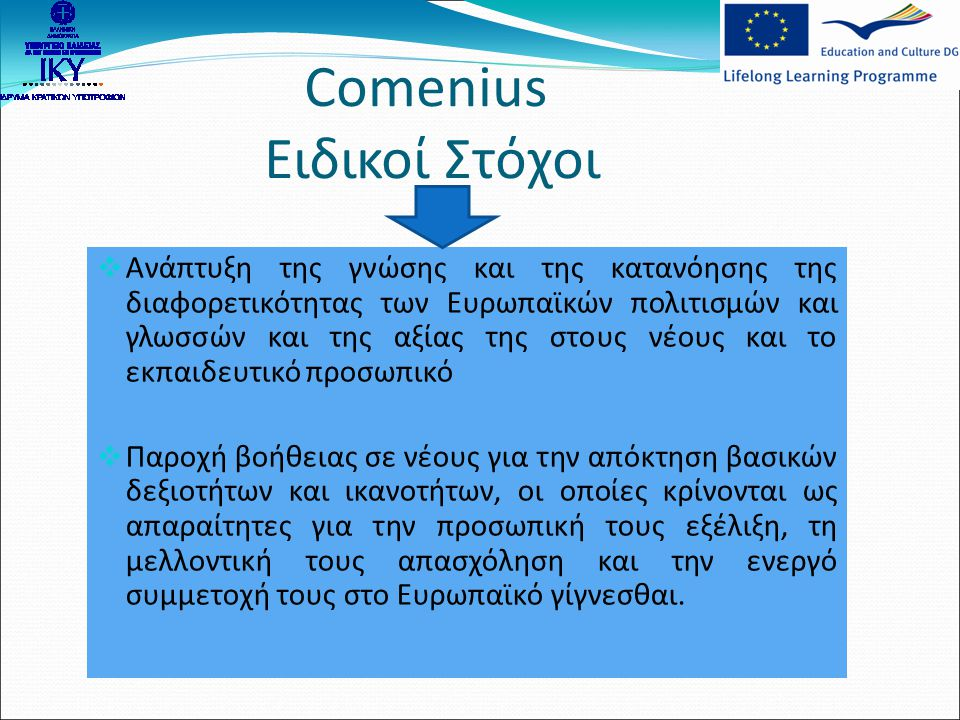 Comenius Ειδικοί Στόχοι  Ανάπτυξη της γνώσης και της κατανόησης της διαφορετικότητας των Ευρωπαϊκών πολιτισμών και γλωσσών και της αξίας της στους νέ