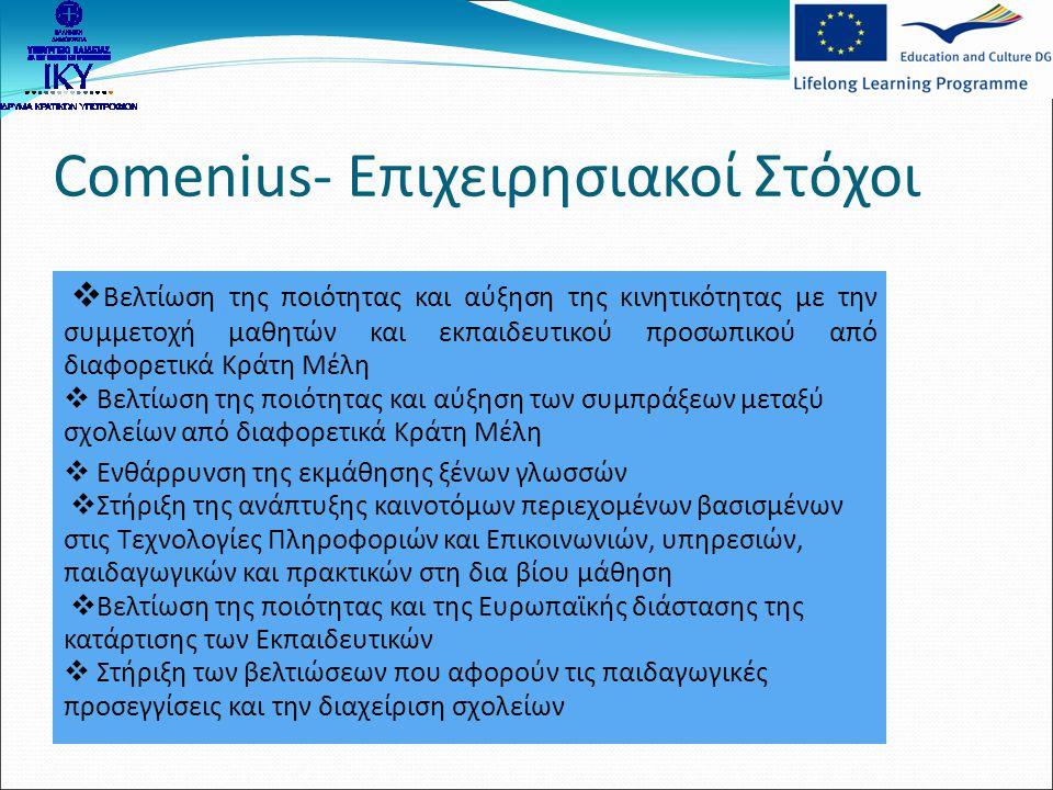Comenius- Επιχειρησιακοί Στόχοι  Βελτίωση της ποιότητας και αύξηση της κινητικότητας με την συμμετοχή μαθητών και εκπαιδευτικού προσωπικού από διαφορ