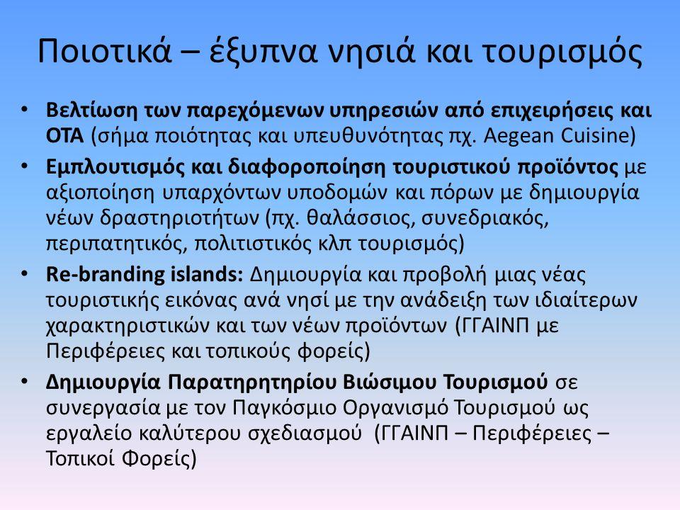 Ποιοτικά – έξυπνα νησιά και τουρισμός • Βελτίωση των παρεχόμενων υπηρεσιών από επιχειρήσεις και ΟΤΑ (σήμα ποιότητας και υπευθυνότητας πχ. Aegean Cuisi
