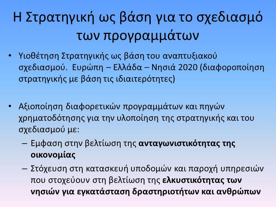 Η Στρατηγική ως βάση για το σχεδιασμό των προγραμμάτων • Υιοθέτηση Στρατηγικής ως βάση του αναπτυξιακού σχεδιασμού. Ευρώπη – Ελλάδα – Νησιά 2020 (διαφ