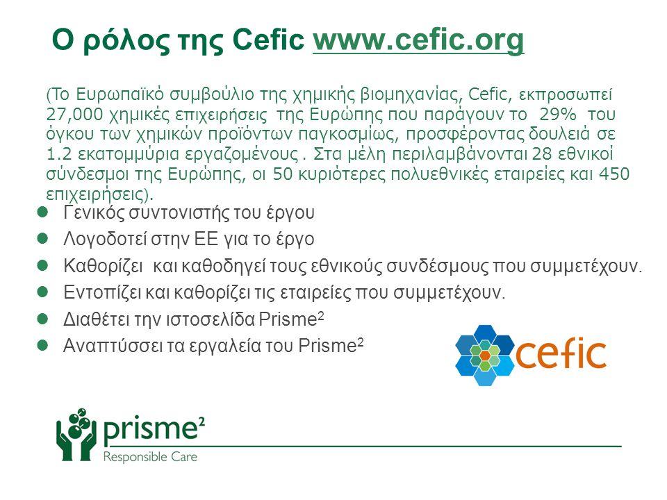 (Το Ευρωπαϊκό συμβούλιο της χημικής βιομηχανίας, Cefic, εκπροσωπεί 27,000 χημικές επιχειρήσεις της Ευρώπης που παράγουν το 29% του όγκου των χημικών προϊόντων παγκοσμίως, προσφέροντας δουλειά σε 1.2 εκατομμύρια εργαζομένους.
