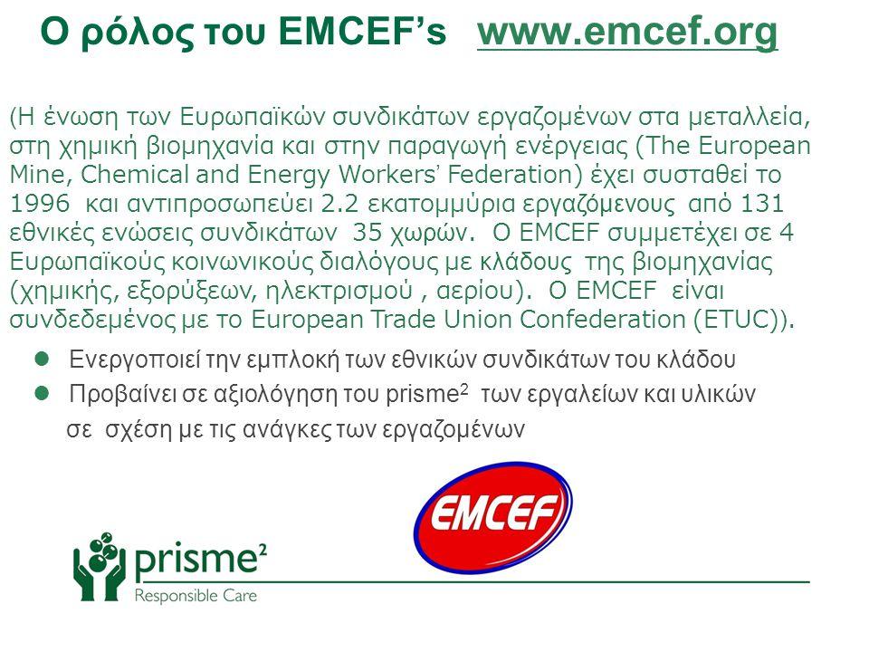 (Η ένωση των Ευρωπαϊκών συνδικάτων εργαζομένων στα μεταλλεία, στη χημική βιομηχανία και στην παραγωγή ενέργειας (The European Mine, Chemical and Energy Workers' Federation) έχει συσταθεί το 1996 και αντιπροσωπεύει 2.2 εκατομμύρια εργαζόμενους από 131 εθνικές ενώσεις συνδικάτων 35 χωρών.