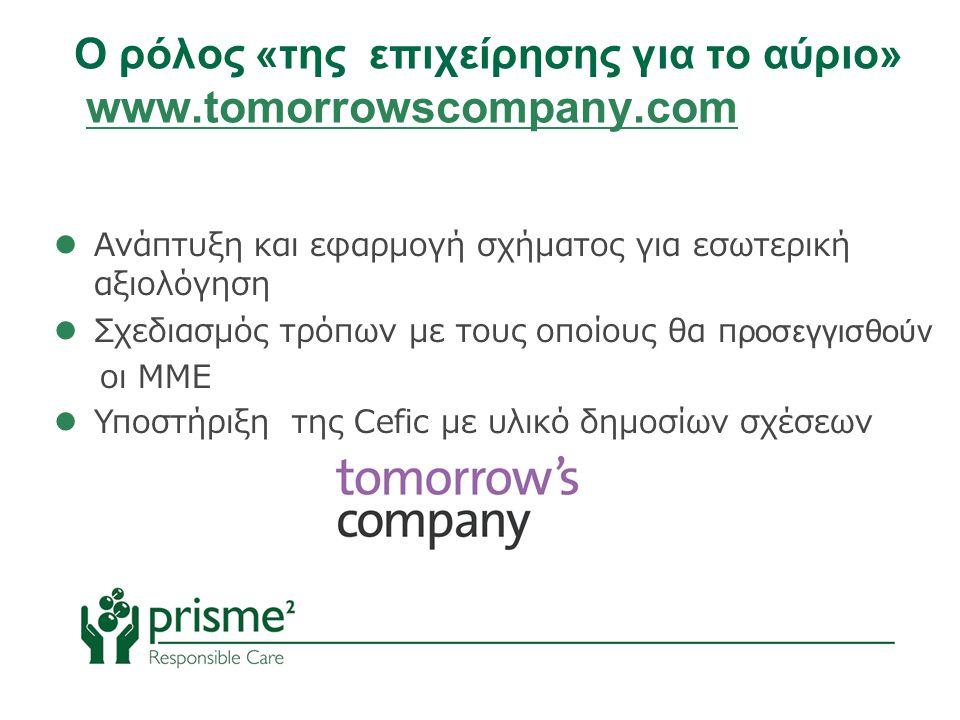  Ανάπτυξη και εφαρμογή σχήματος για εσωτερική αξιολόγηση  Σχεδιασμός τρόπων με τους οποίους θα προσεγγισθούν οι ΜΜΕ  Υποστήριξη της Cefic με υλικό δημοσίων σχέσεων Ο ρόλος «της επιχείρησης για το αύριο» www.tomorrowscompany.com