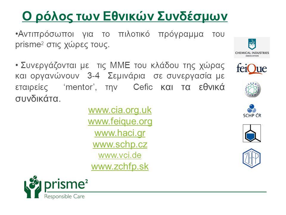 •Αντιπρόσωποι για το πιλοτικό πρόγραμμα του prisme 2 στις χώρες τους.