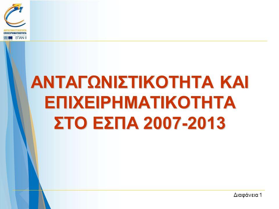 Διαφάνεια 1 ΑΝΤΑΓΩΝΙΣΤΙΚΟΤΗΤΑ ΚΑΙ ΕΠΙΧΕΙΡΗΜΑΤΙΚΟΤΗΤΑ ΣΤΟ ΕΣΠΑ 2007-2013
