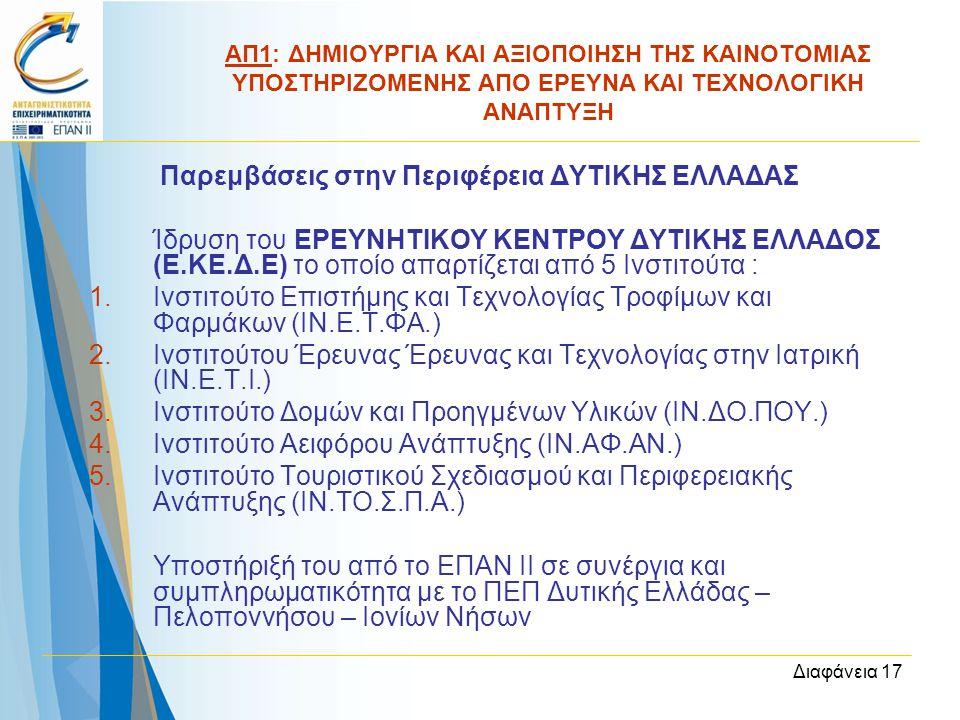 Διαφάνεια 17 Παρεμβάσεις στην Περιφέρεια ΔΥΤΙΚΗΣ ΕΛΛΑΔΑΣ Ίδρυση του ΕΡΕΥΝΗΤΙΚΟΥ ΚΕΝΤΡΟΥ ΔΥΤΙΚΗΣ ΕΛΛΑΔΟΣ (Ε.ΚΕ.Δ.Ε) το οποίο απαρτίζεται από 5 Ινστιτού