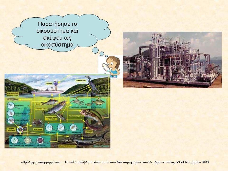Ενέργεια Μηδενική παραγωγή αποβλήτων Ενέργεια και περιορισμένοι φυσικοί πόροι Περιορισμένα απόβλητα Απεριόριστα απόβλητα Ενέργεια και απεριόριστοι φυσικοί πόροι Στάδιο Ι Στάδιο ΙΙ Στάδιο III Στάδιο ΙΙΙ – κυκλική ροή Στάδια εξέλιξης οικοσυστημάτων Στάδιο Ι - γραμμική ροή Στάδιο ΙΙ – ψευδοκυκλική ροή «Πρόληψη απορριμμάτων… Τα καλά απόβλητα είναι αυτά που δεν παράχθηκαν ποτέ!», Δραπετσώνα, 23-24 Νοεμβρίου 2012