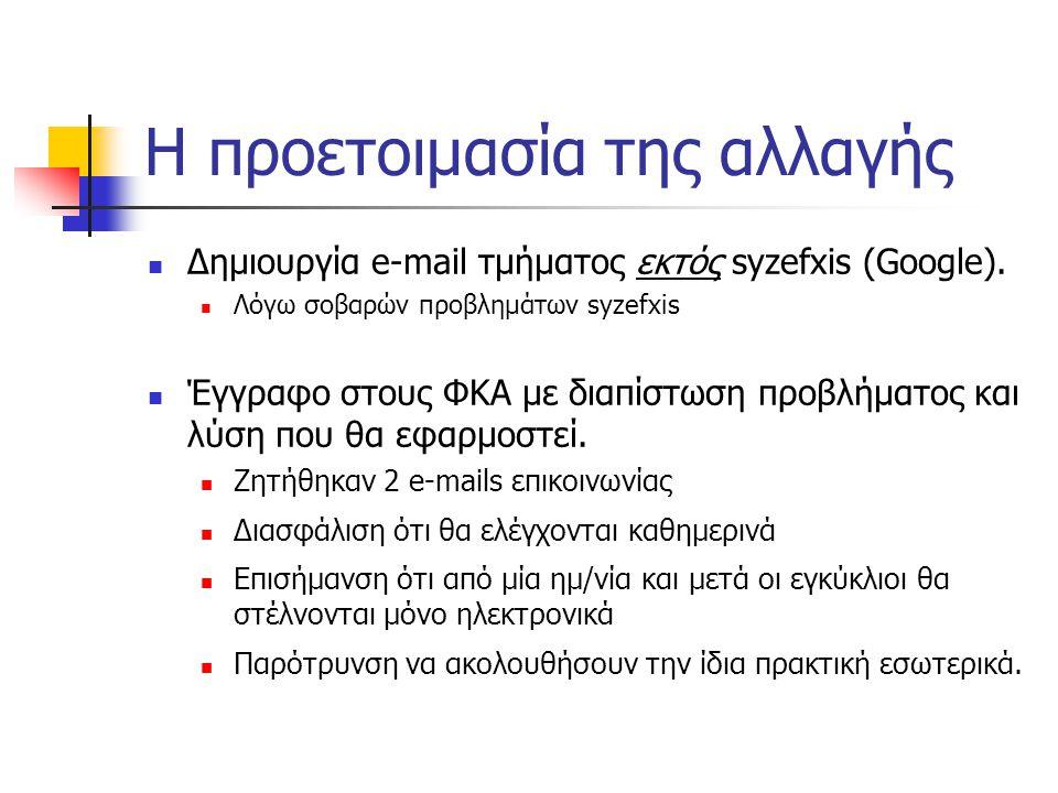Η προετοιμασία της αλλαγής  Δημιουργία e-mail τμήματος εκτός syzefxis (Google).  Λόγω σοβαρών προβλημάτων syzefxis  Έγγραφο στους ΦΚΑ με διαπίστωση