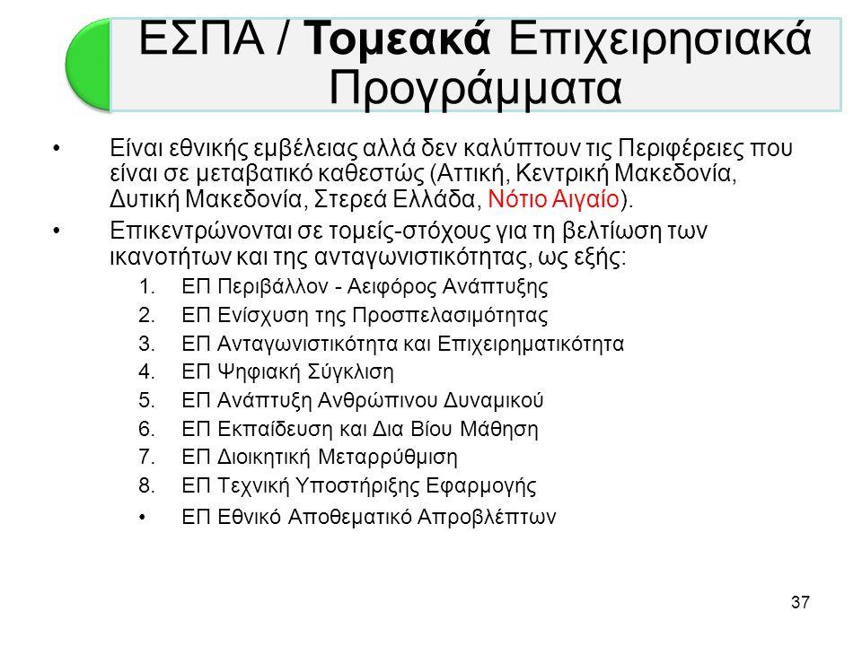 37 •Είναι εθνικής εμβέλειας αλλά δεν καλύπτουν τις Περιφέρειες που είναι σε μεταβατικό καθεστώς (Αττική, Κεντρική Μακεδονία, Δυτική Μακεδονία, Στερεά